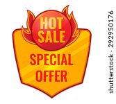 hot sale label  in fire with... | Shutterstock .eps vector #292950176