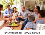 group of friends socialising in ... | Shutterstock . vector #292958435