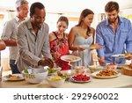 friends serving themselves food ...   Shutterstock . vector #292960022