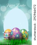 happy easter eggs greeting card ... | Shutterstock .eps vector #292966472