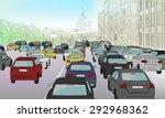 traffic jam of cars on the main ... | Shutterstock .eps vector #292968362