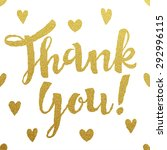 thank you gold lettering design  | Shutterstock .eps vector #292996115