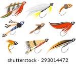 Fly Fishing Flies Vector...