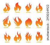 set of color fire icon. | Shutterstock .eps vector #293014922