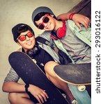 Two Happy Stylish Teen Boys...