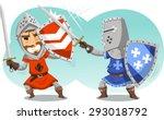 sword fighting knights in full... | Shutterstock .eps vector #293018792