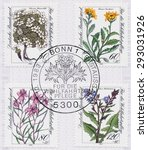 Small photo of GERMANY - CIRCA 1983: A first day of issue postmark printed in Germany, shows flowers Swiss Androsace, Krain groundsel, Fleischers willow herb, Alpine sowthistle, circa 1983