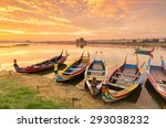 Wooden Boat In Ubein Bridge At...