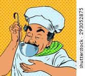 chef tastes food kitchen   Shutterstock .eps vector #293052875