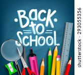 back to school title words with ... | Shutterstock .eps vector #293055356