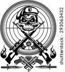 skull tattoo combat | Shutterstock .eps vector #293063432