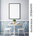 Stock photo mock up poster with vintage hipster cafe restaurant interior background d render 293064545