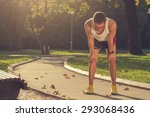 tired jogger in the park. | Shutterstock . vector #293068436