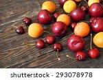 summer fruits on dark wooden...   Shutterstock . vector #293078978