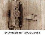 elaborately carved wooden lock...   Shutterstock . vector #293105456