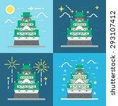 flat design of osaka castle... | Shutterstock .eps vector #293107412