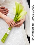 the bride holding a bouquet of... | Shutterstock . vector #293126402