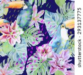tropical watercolor pattern... | Shutterstock .eps vector #293137775