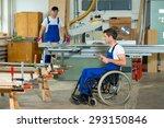 disabled worker in wheelchair... | Shutterstock . vector #293150846