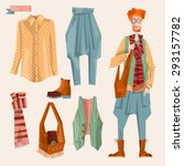boho chic style fashion set for ... | Shutterstock .eps vector #293157782