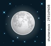 moon realistic icon with stars...   Shutterstock .eps vector #293169608
