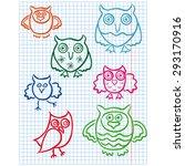 set of seven cute color owls... | Shutterstock .eps vector #293170916