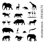 african animals silhouettes | Shutterstock .eps vector #29318173