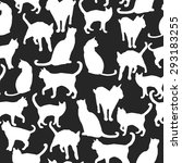 Stock vector seamless pattern with silhouettes of cats vector illustration 293183255