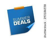 summer deals blue sticky notes... | Shutterstock .eps vector #293186558