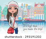 fashionable hipster girl... | Shutterstock .eps vector #293191202