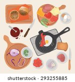 kitchen preparations  food... | Shutterstock .eps vector #293255885