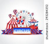 circus fun fair and carnival...   Shutterstock .eps vector #293284352