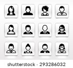 people face set on white square ... | Shutterstock .eps vector #293286032
