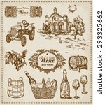 wine. vintage set  | Shutterstock .eps vector #293325662