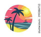 sunrise with palm trees on the ... | Shutterstock .eps vector #293386712