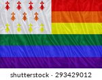 Small photo of Homo Atao flag pattern on the fabric texture ,vintage style