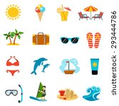 summer and vacations icons set... | Shutterstock .eps vector #293444786