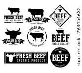 vector set of beef labels ... | Shutterstock .eps vector #293454632