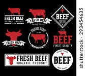 vector set of beef labels ... | Shutterstock .eps vector #293454635