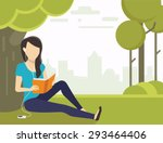 woman sitting on grass in the... | Shutterstock .eps vector #293464406