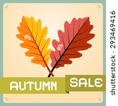 retro autumn sale background... | Shutterstock .eps vector #293469416