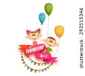 red ribbon with friendship day... | Shutterstock .eps vector #293515346