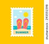 summer stamp or mark with flip...   Shutterstock .eps vector #293551598