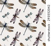 watercolor dragonflies. vector  ... | Shutterstock .eps vector #293552042