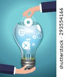 bulb idea concept with gears... | Shutterstock .eps vector #293554166