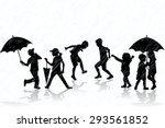 children silhouettes enjoy the... | Shutterstock .eps vector #293561852