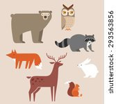 Cute Forest Animals Vector Set...
