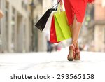 back view of a fashion shopper... | Shutterstock . vector #293565158