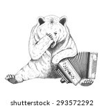 sad bear sits with an accordion.... | Shutterstock .eps vector #293572292