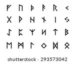 alphabet with ancient old norse ... | Shutterstock .eps vector #293573042